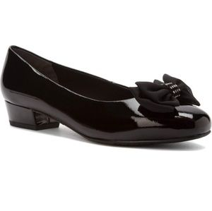 ROS HOMMERSON BLACK PATTENT TIANA HEELED SHOES